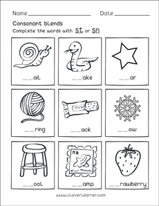 Free consonant blends with s worksheets for preschool children