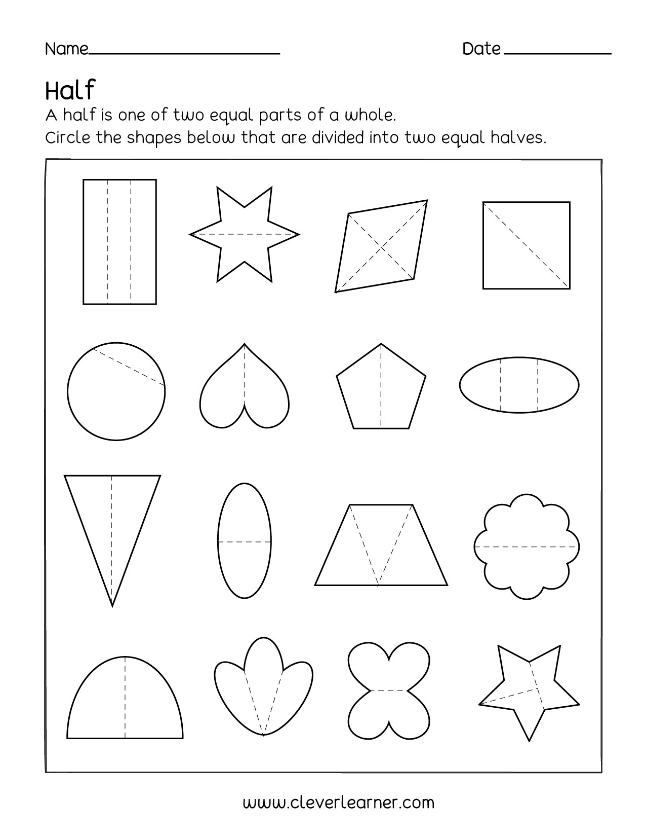 Fun activity on fractions, Half (1/2) worksheets for children