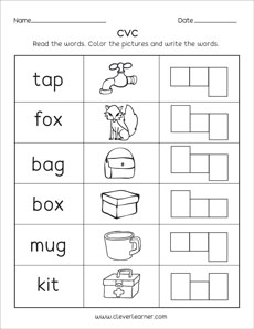 CVC word worksheets for preschool and kindergarten kids