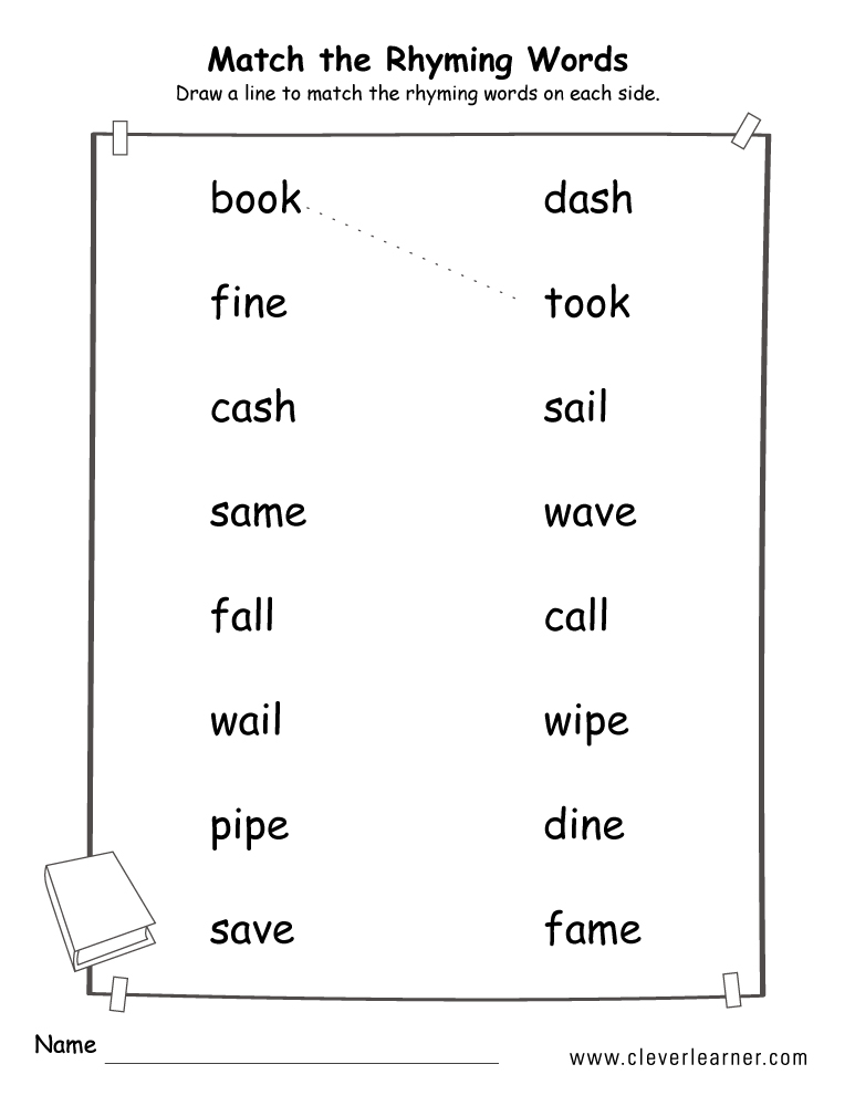 Rhyme Words Matching Worksheets For Kindergarten And Preschool Kids. Match The Rhyme Words Sheets For Children. Printable. Rhyming Words Printable At Clickcart.co