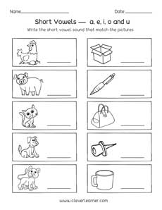Short vowel sounds worksheets for preschool and kindergarten kids