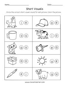 short vowel sounds worksheets for preschool and kindergarten kids short vowel sounds activity worksheets shapes for children