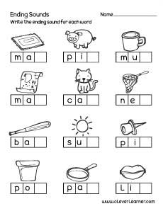 Ending Sounds Worksheet For Preschool Sound Activity Sheet