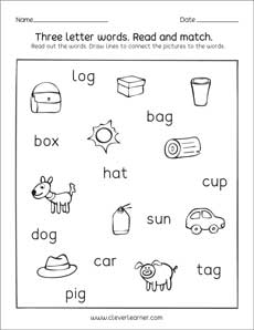 three letter words for kindergarten pdf