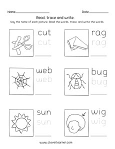 3 Letter Words For Pre K.Three Letter Words Tracing And Writing Printable Sheets For