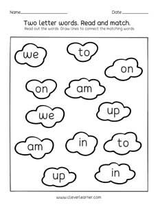 Two letter words reading, writing and matching worksheets for