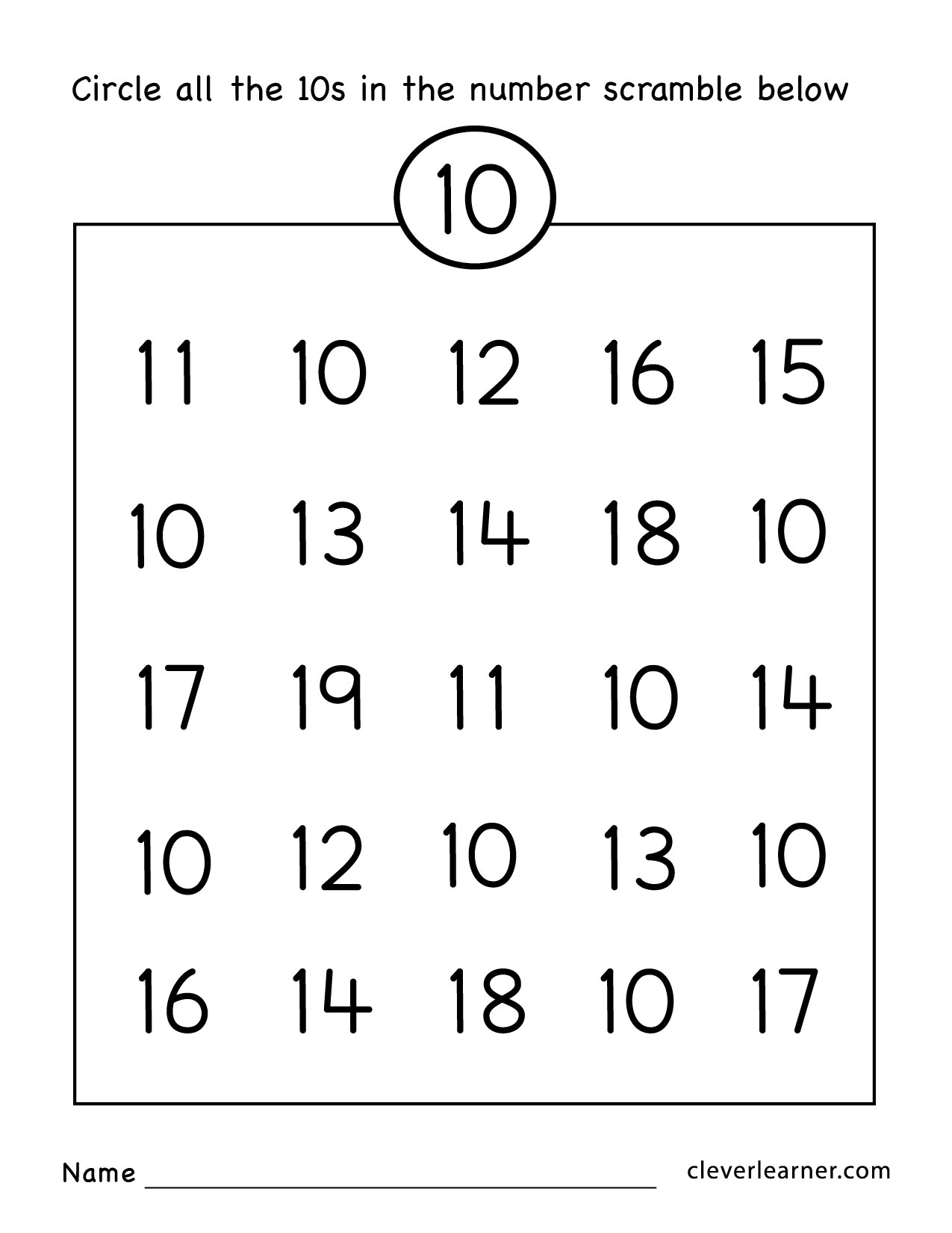 Number ten writing, counting and identification printable