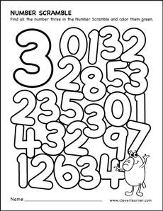 Number scramble activity worksheet for number 3 for ...