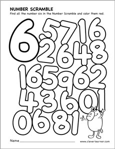 Number 6 Pages For Preschoolers Coloring Pages