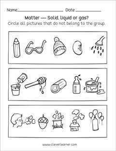 Solids Worksheets For Kindergarten