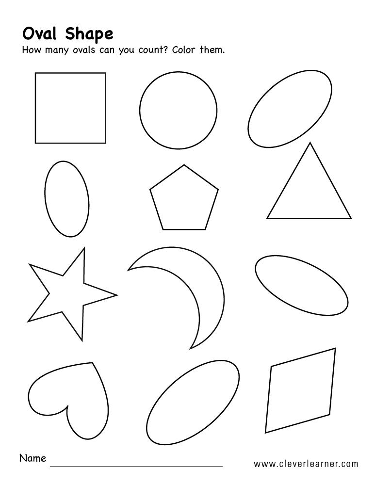 Free oval shape activity worksheets for preschool children