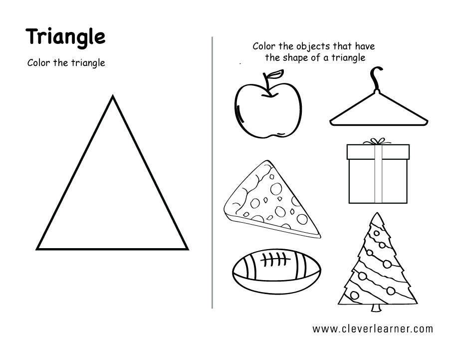 Printable Worksheets shapes worksheets pdf : Free Triangle shape activity worksheets for school children