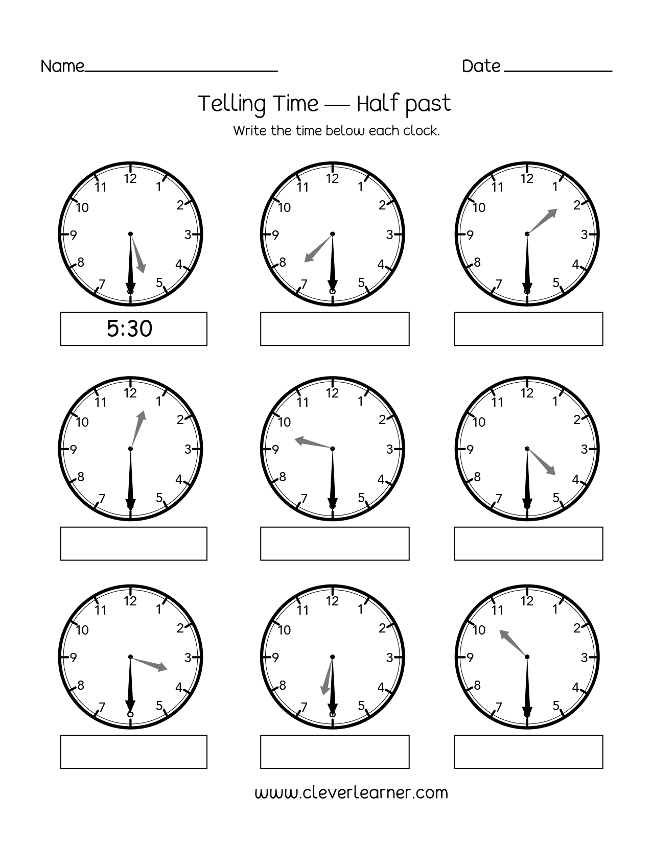 Telling time half past the hour worksheets for 1st and 2nd ...