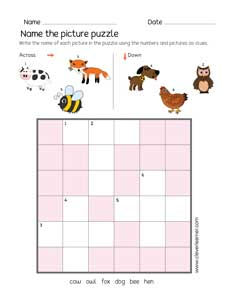 image about Kids Crossword Puzzles Printable titled Very simple think about crossword puzzle sheets for little ones
